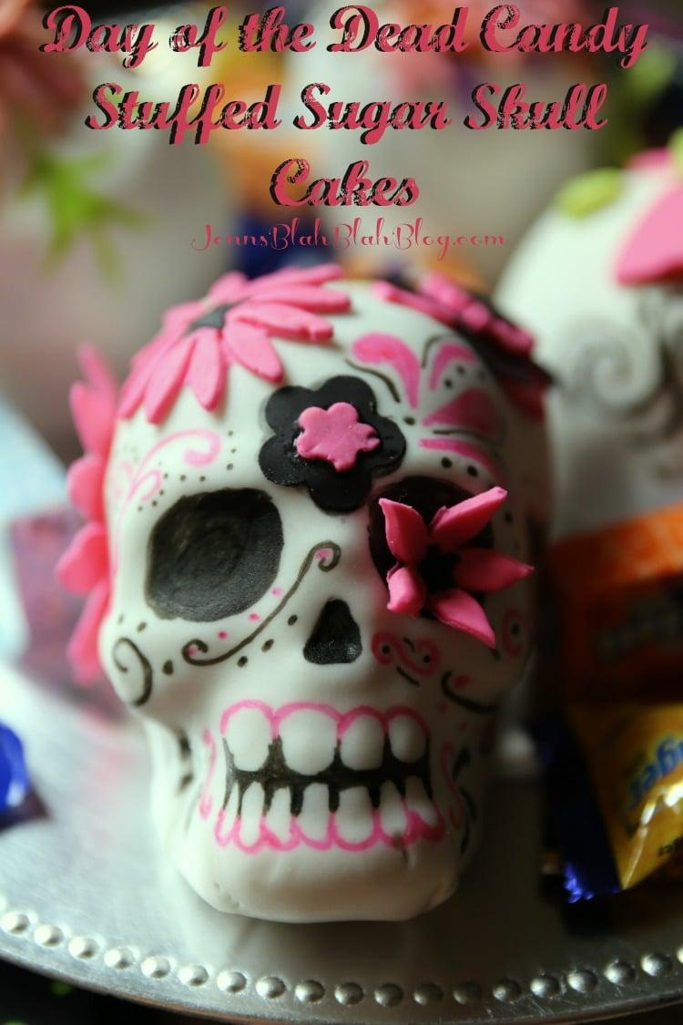 Day of the Dead Candy Stuffed Sugar Skull Cake