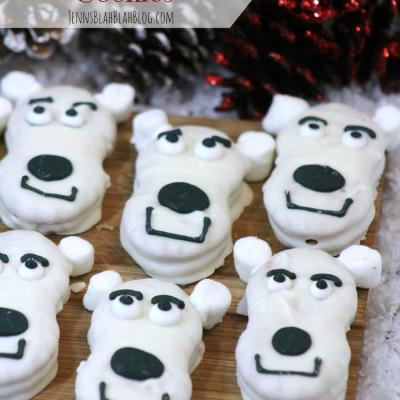 Cute White Chocolate Covered Polar Bear Cookies!
