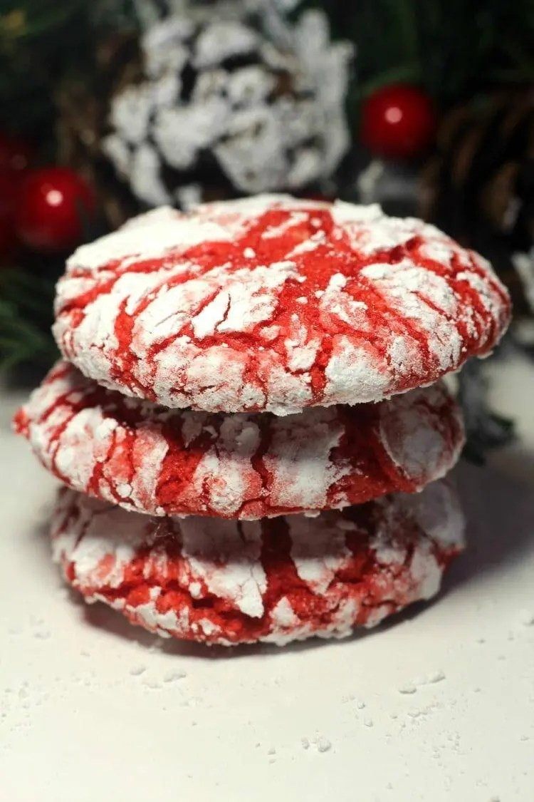 Holly Red Crinkle Cookie Recipe for the Holidays