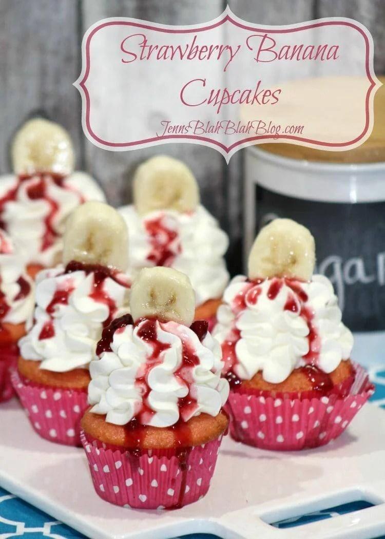 Strawberry Banana Valentine's Day Cupcakes. Recipe