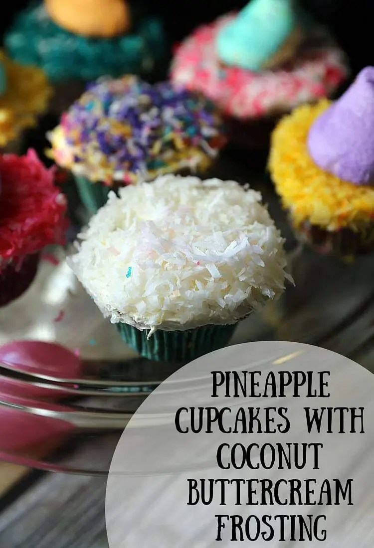 Pineapple Cupcakes with Coconut Butter Cream Frosting and Colored Coconut Shavings