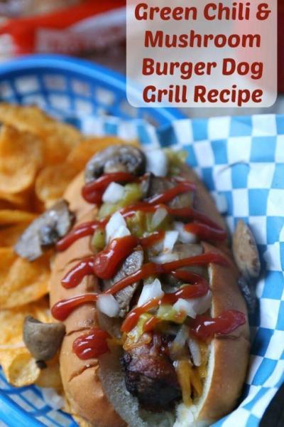 Stuffed Green Chili & Mushroom Bacon-Wrapped Burger Dog