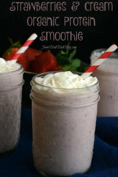 Strawberries & Cream Organic Protein Smoothie Recipe