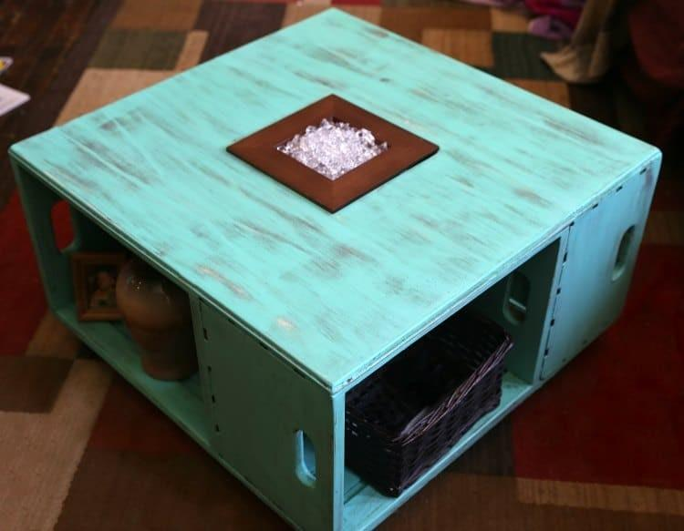 distressed wood crate coffee table