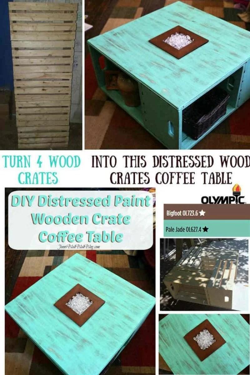 Diy distressed wood crate coffee table diy distressed wood crate coffee table project geotapseo Choice Image