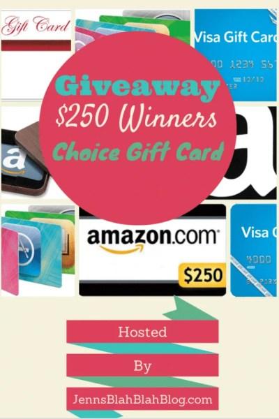 $250 Gift Card Giveaway (Winner Picks Their GC)