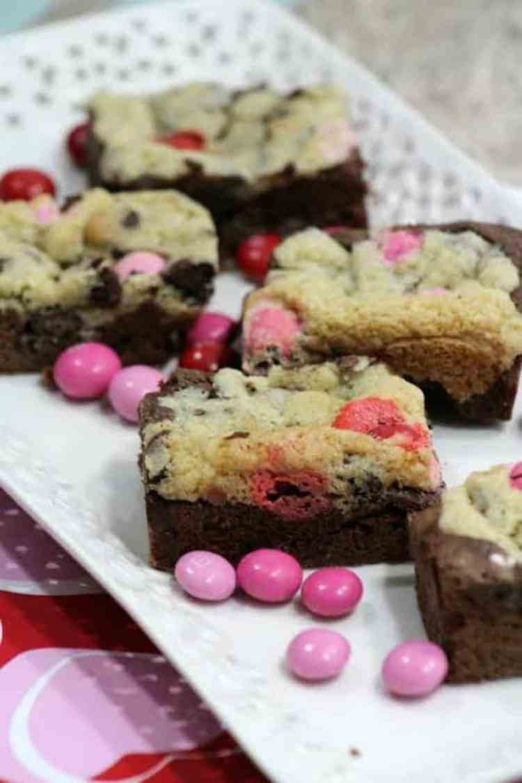Brownie Chocolate Chip Bars Filled with Strawberry M&Ms 2