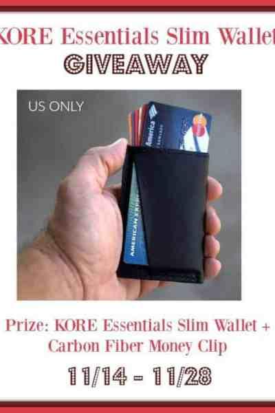 KORE Essentials Slim Wallet Giveaway