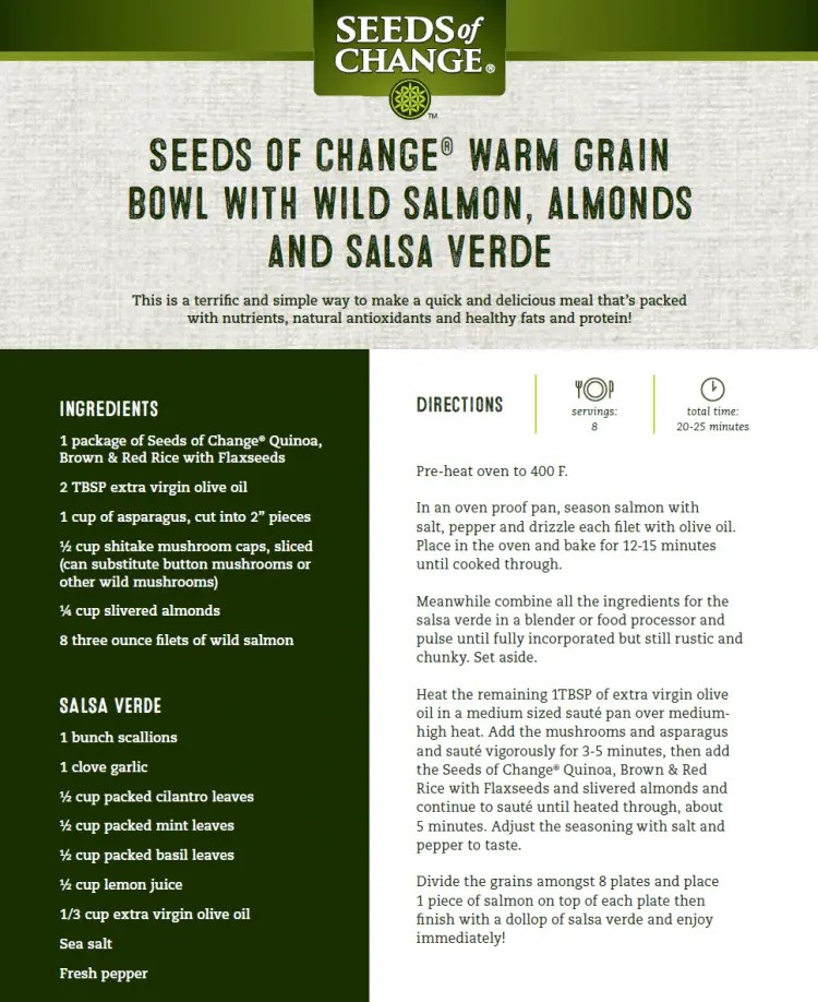 Seeds of Change Warm Grain Bowl With Wild Salmon, Almonds and Salsa Verde