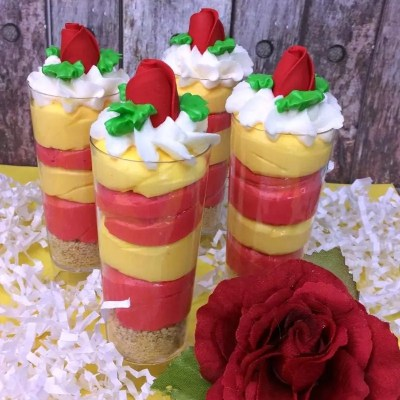 Beauty and the Beast Cheesecake Cupcake Shooters