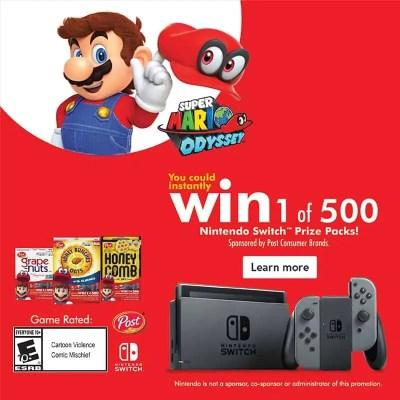 Win 1 of 500 Nintendo Switch Prize Packs