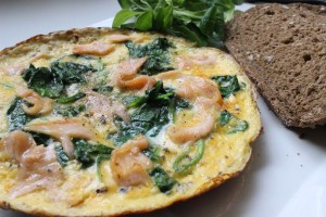 Zalm spinazie omelet