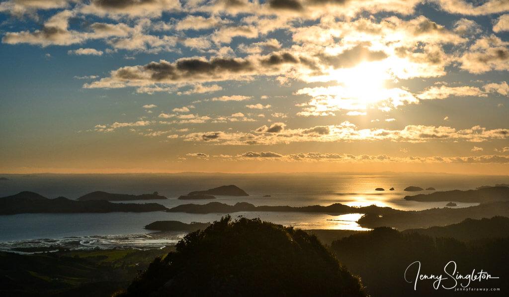 Sunset from Castle Rock hike, Coromandel, New Zealand