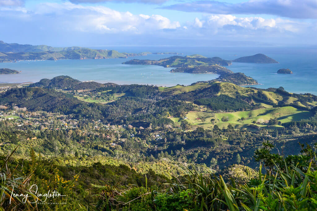 View of Coromandel Town and beyond from Luca's Lookout on Tokatea Hill, on Kennedy Bay Road.