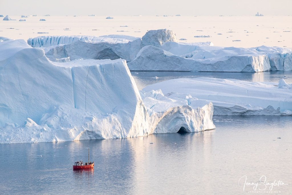 A red tourist boat floats in front of enormous icebergs near the entrance of Ilulissat Icefjord, Greenland