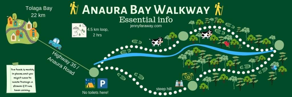 Infographic Map to Anaura Bay Walkway