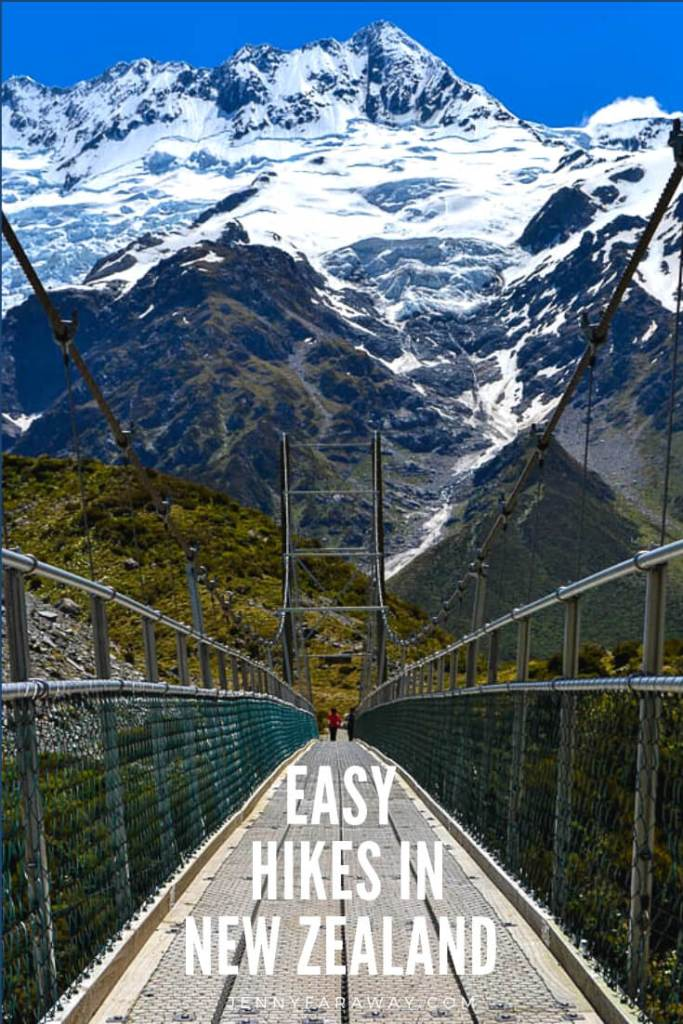 Pinterest Graphic with a picture from the Hooker Valley Track in Mount Cook/Aoraki, New Zealand