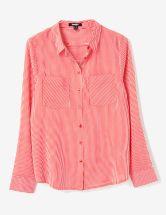 chemise rayée écrue et rouge