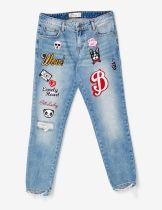 jean droit à patchs medium blue