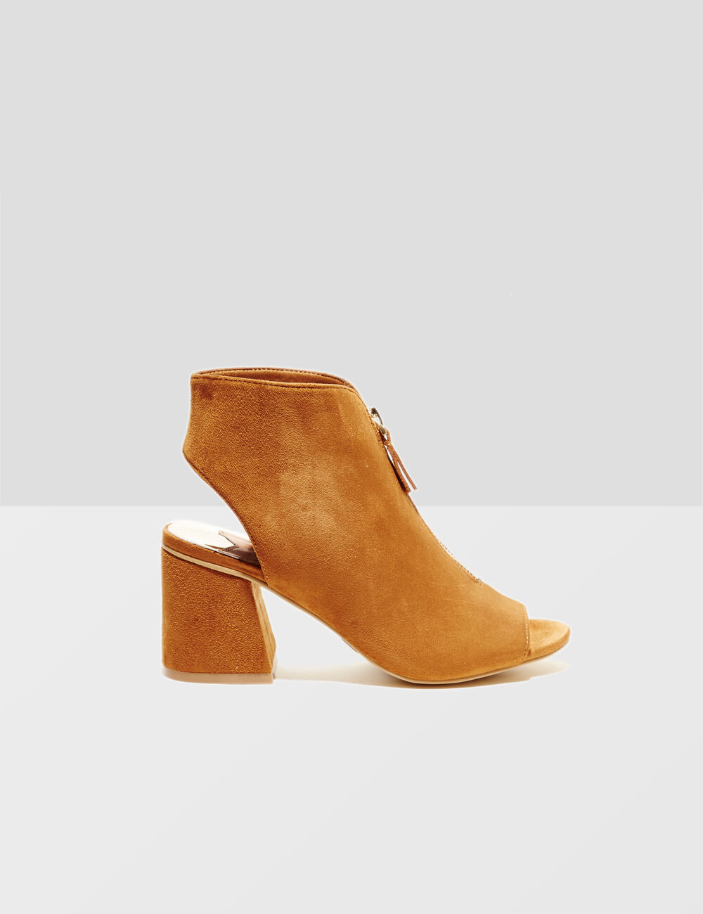bottines avec zip camel