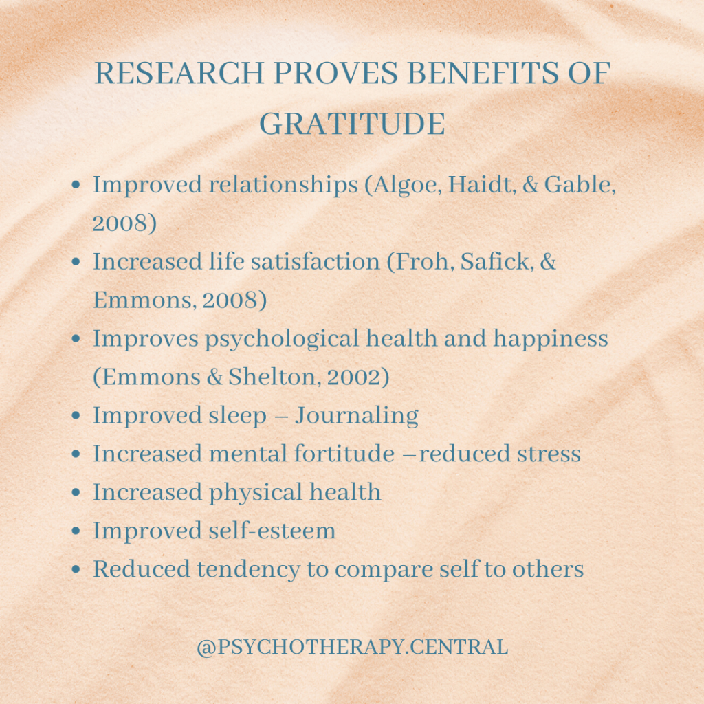 RESEARCH PROVES BENEFITS OF GRATITUDE