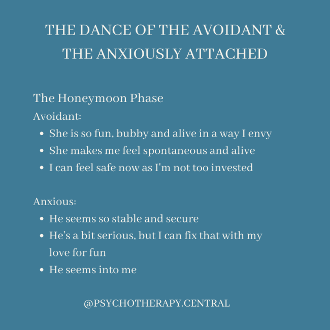 the dance of the Avoidant and anxiously attached