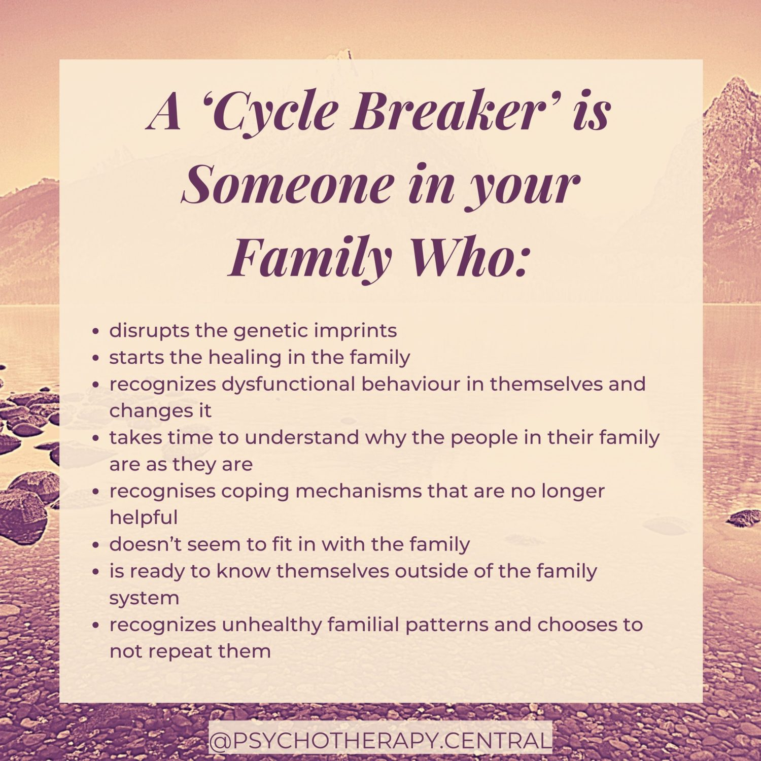A 'Cycle Breaker' is Someone in your Family Who...