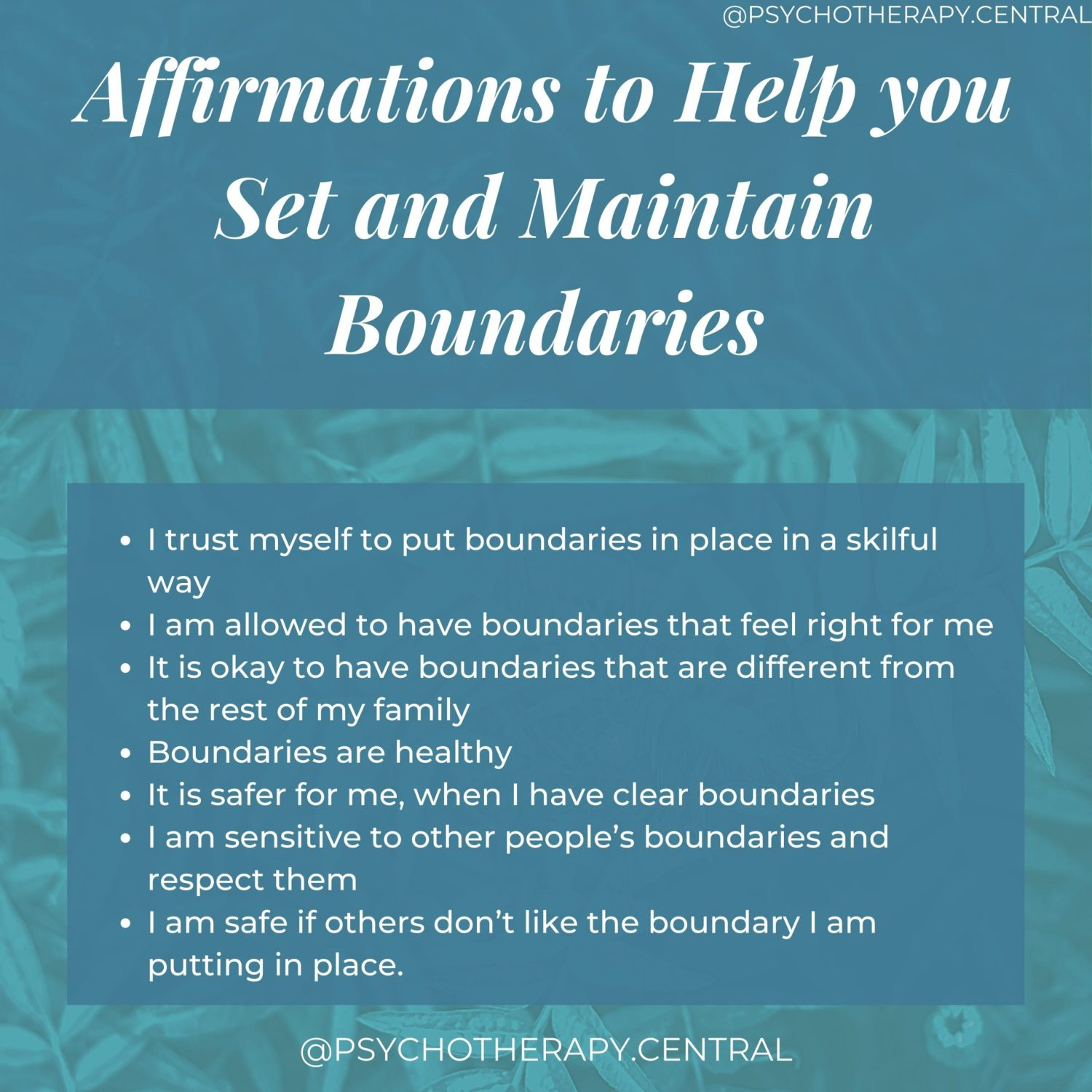 Affirmations to Help you Set and Maintain Boundaries