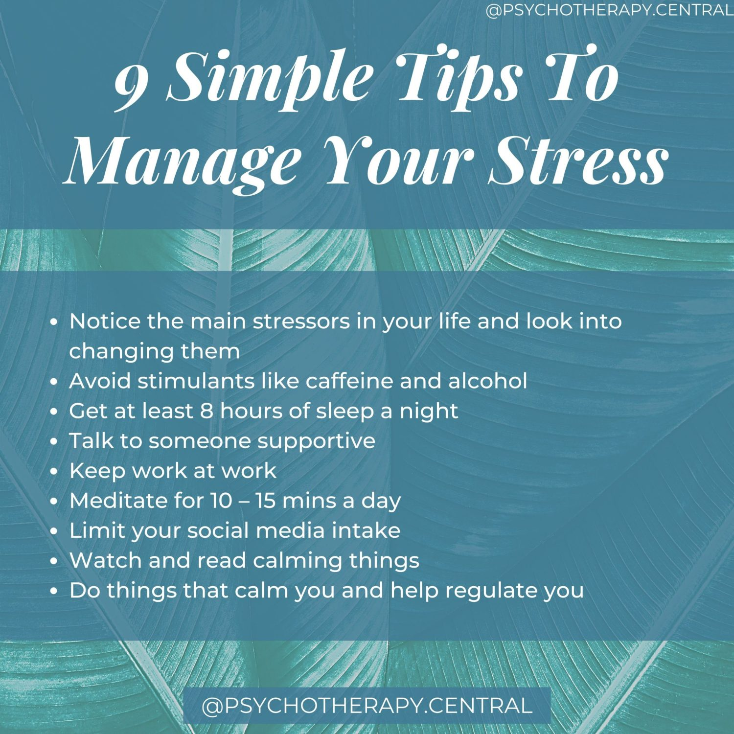 9 SIMPLE TIPS TO MANAGE YOUR STRESS