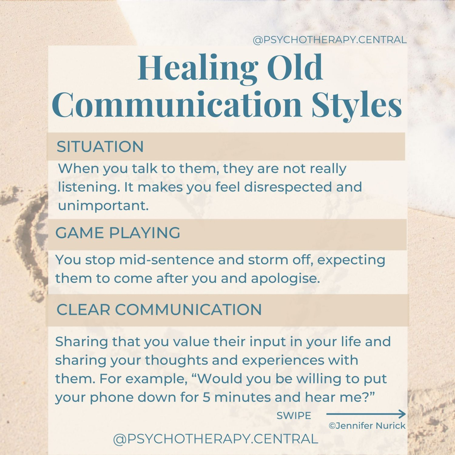 Healing old communication styles where we play games, push our partner away and DON'T get what we want.