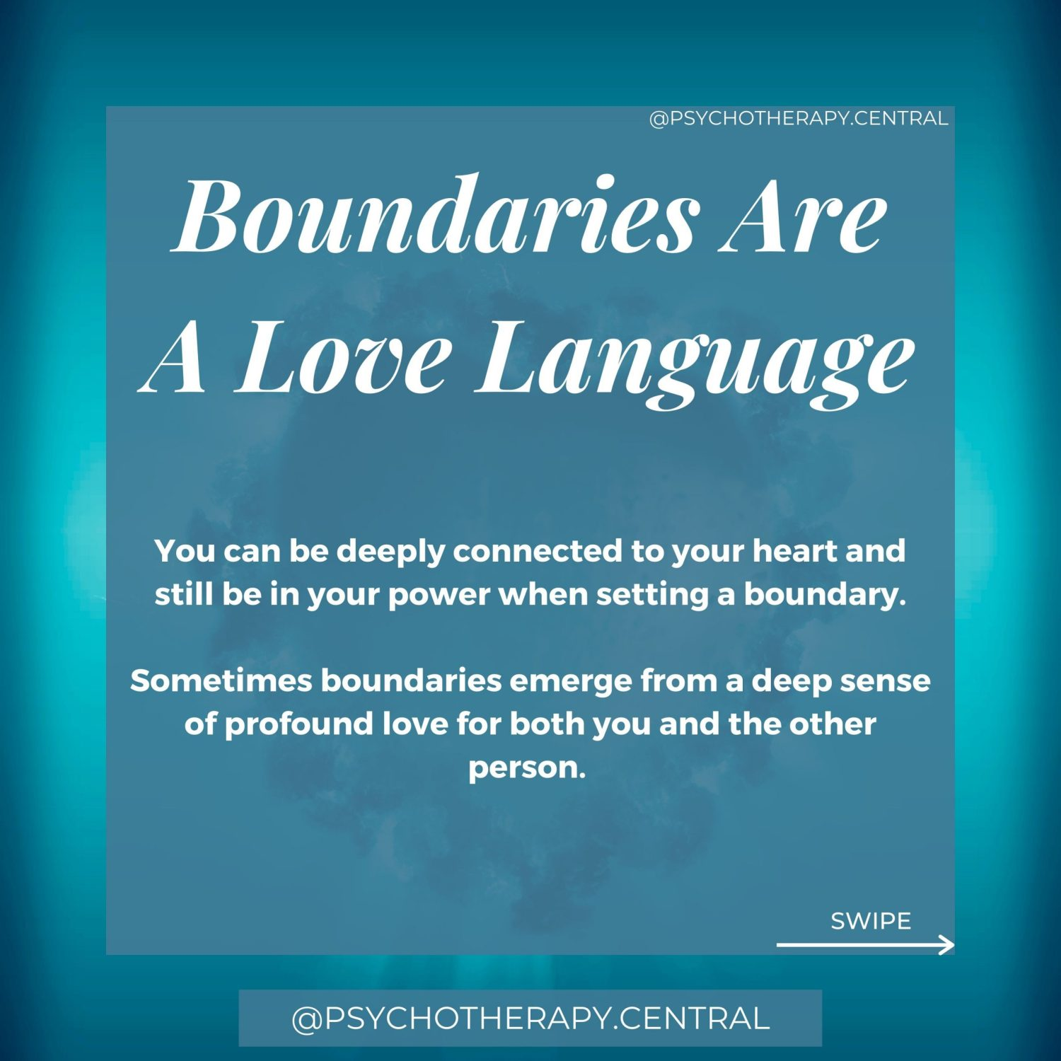 Boundaries are a love language. You can be deeply connected to your heart and still be in your power when setting a boundary. Sometimes boundaries emerge from a deep sense of profound love for both you and the other person. You just can't carry on in the way you have been. Something needs to change. Boundaries are hard if we have been taught that boundaries mean we don't love each other. Remember, boundaries are a love language.