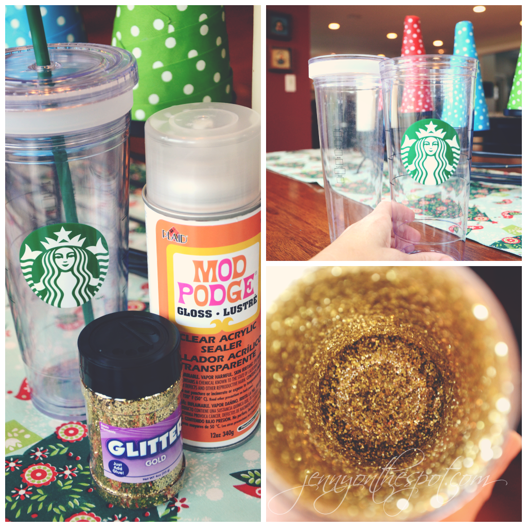 Glitter cold cup supplies via @jennyonthespot