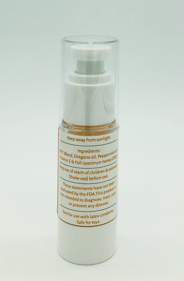 Jennys MCT oil based lube showing a photo of the back label