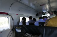The inside of the plane