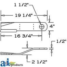 Bush Hog 2512 Rotary Cutter Blade, Rotary Cutter, CCW, Lift