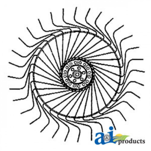 Tonutti P5 Wheel Rake Rake Wheel Complete, (RH)