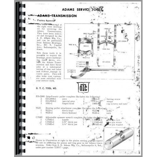 Adams 411 Grader Service Manual (Chassis)