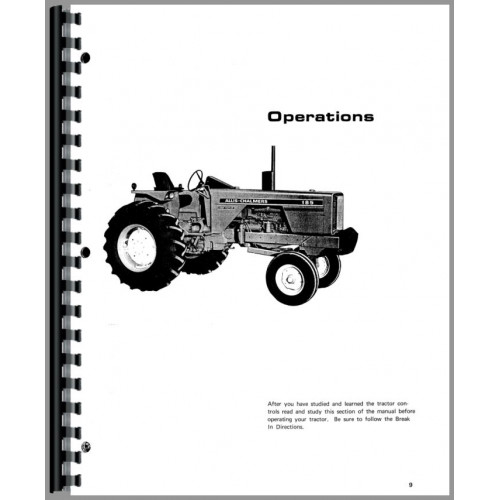 Allis Chalmers 185 Tractor Operators Manual (SN# 1001-1596)