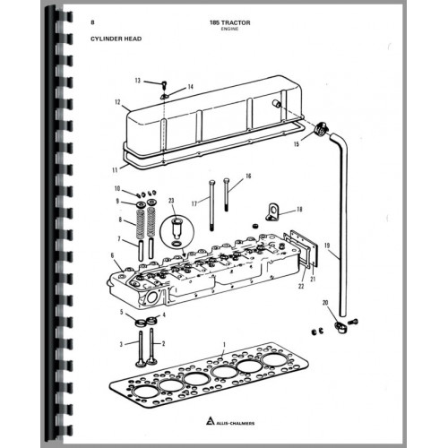 Allis Chalmers 185 Tractor Parts Manual (SN# 12800 and Up