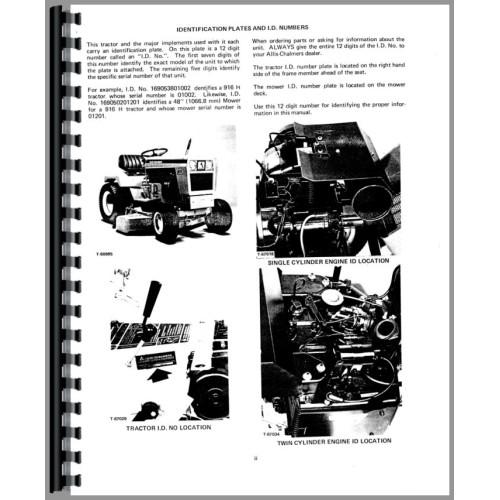 Allis Chalmers 910 Lawn & Garden Tractor Service Manual