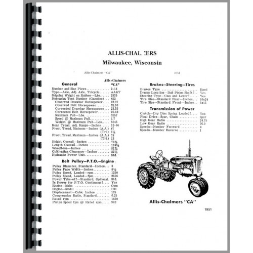 Allis Chalmers CA Tractor Service Manual