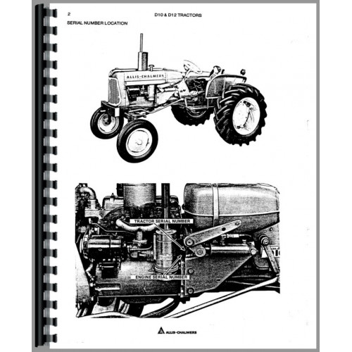 Allis Chalmers D10 Tractor Parts Manual (All SN#s)