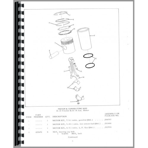 Allis Chalmers D14 Tractor Parts Manual (SN# 19000 and Up