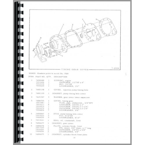 Allis Chalmers DD Motor Grader Parts Manual (SN# 1-4500