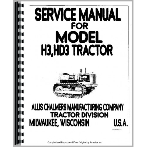 Allis Chalmers H3 Crawler Service Manual