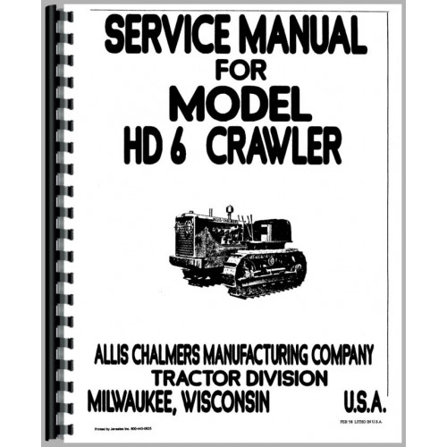 Allis Chalmers HD6A Crawler Service Manual (SN# 101-11093)