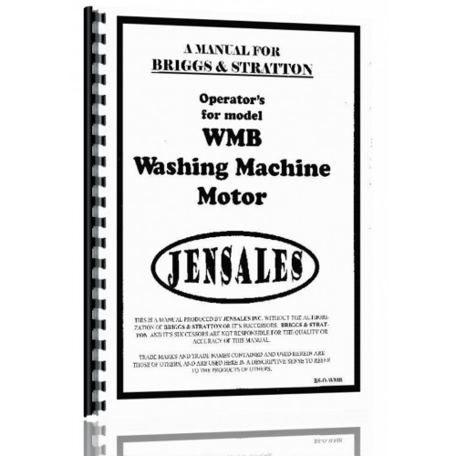 Briggs And Stratton WMB Washing Machine Motor Operators Manual