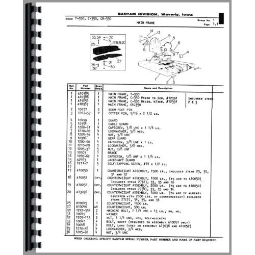 Bantam Crane 350 Plow Parts Manual