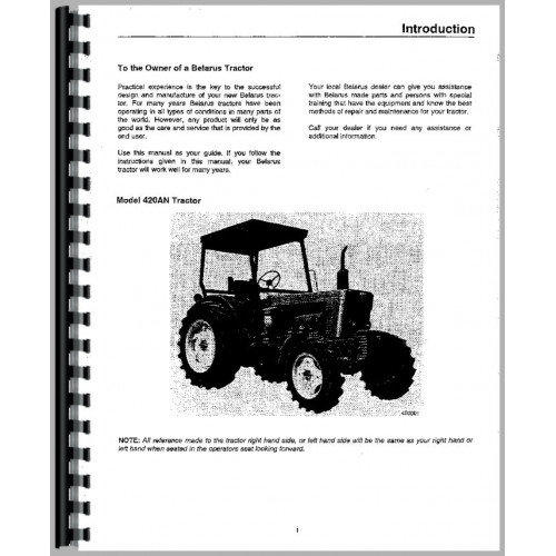 Belarus 400AN Tractor Operators Manual