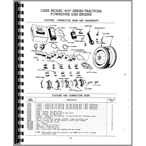Case 400 Tractor Parts Manual (Series)